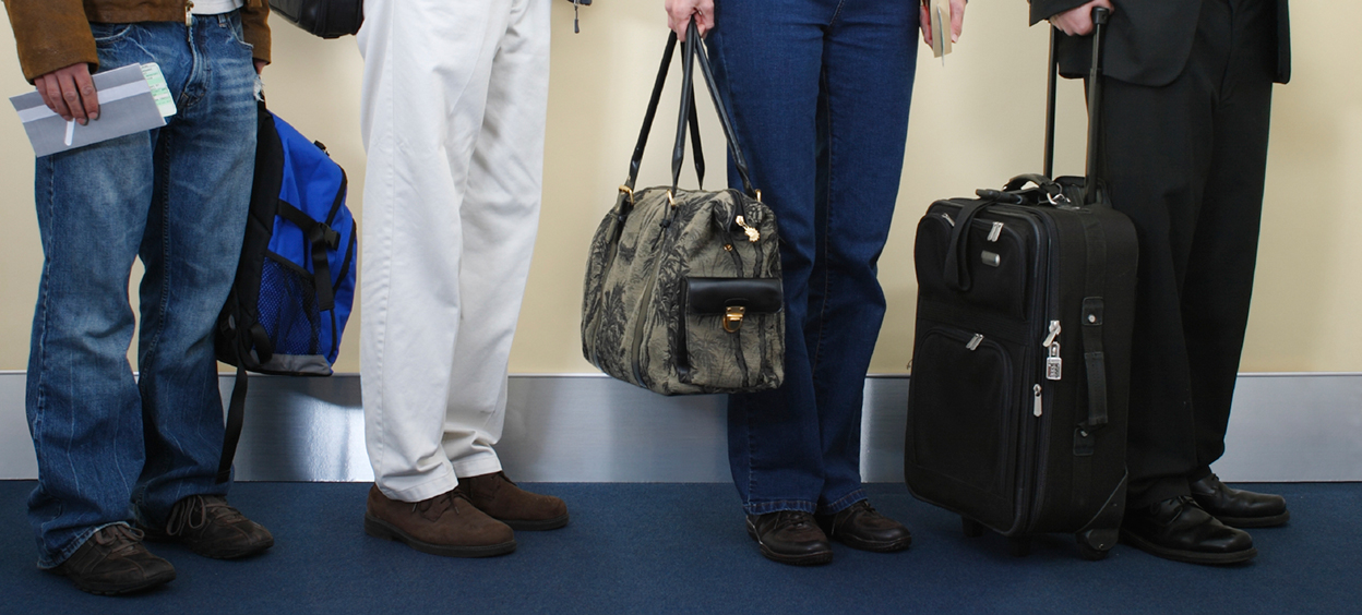 Travellers in an airport