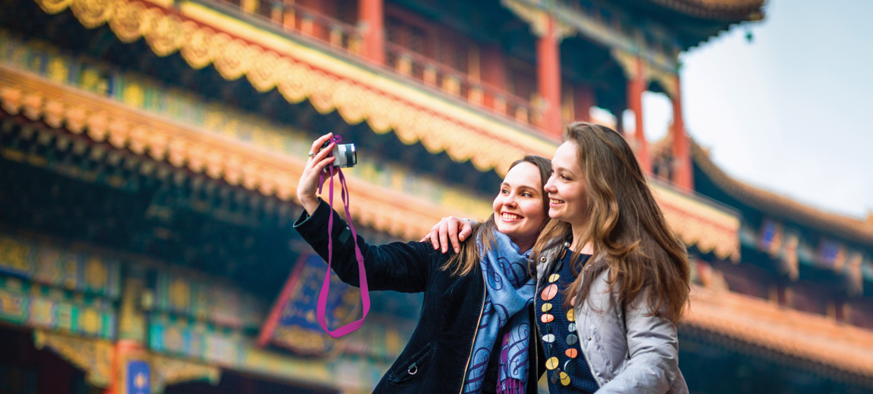 Girls taking a selfie
